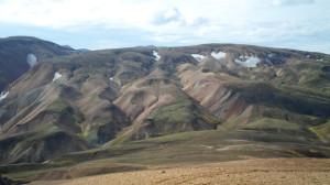 Paesaggio dalla cima della montagna a Landmannalaugar
