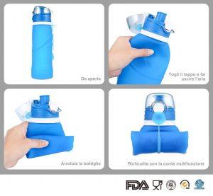 Bottiglia pieghevole in silicone