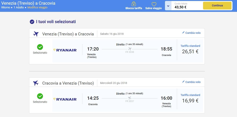 Prenotazione volo Treviso Cracovia Ryanair
