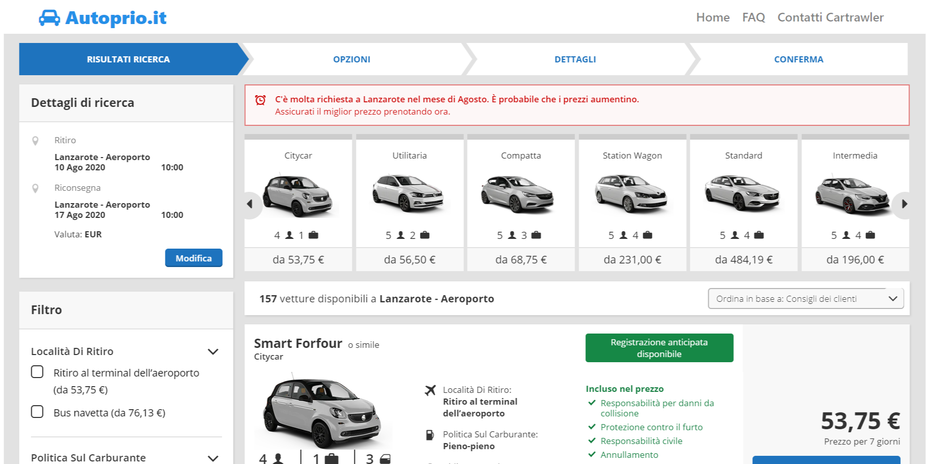 Comparatore prezzi Noleggio auto a Lanzarote